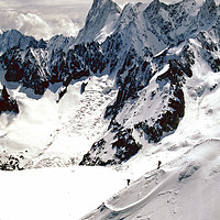 Buy canvas prints of Chamonix Aiguille du Midi Mont Blanc Massif by Andy Evans