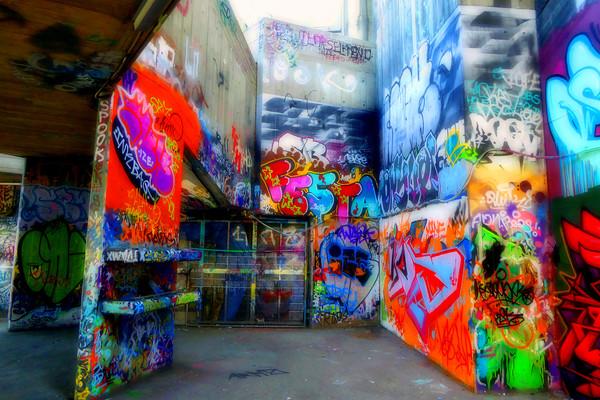 Southbank Skate Park Graffiti Street Art London Canvas print by Andy Evans