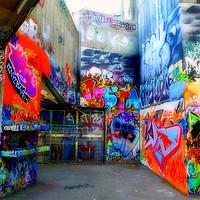 Buy canvas prints of Southbank Skate Park Graffiti Street Art London by Andy Evans