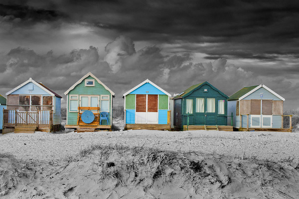 Beach Huts Hengistbury Head Bournemouth Dorset Framed Mounted Print by Andy Evans Photos