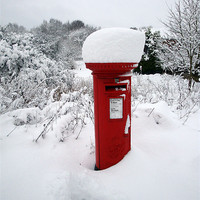 Buy canvas prints of Snow Topped Post Box by Michelle Orai