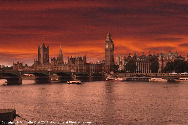 Londons Burning Canvas print by Michelle Orai