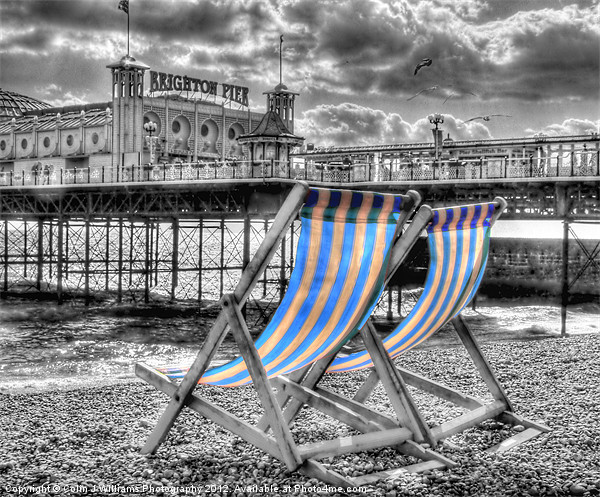 Deckchairs - Brighton BW Acrylic by Colin J Williams Photography