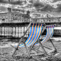 Buy canvas prints of Deckchairs - Brighton BW by Colin J Williams Photography