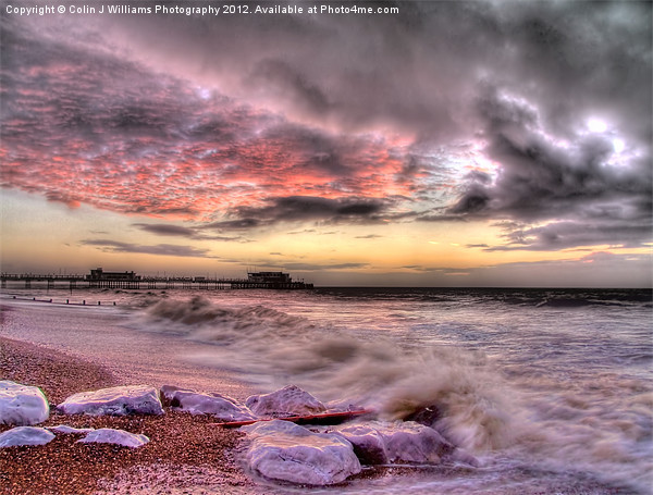 Worthing Beach Sunrise 1 Canvas print by Colin J Williams Photography