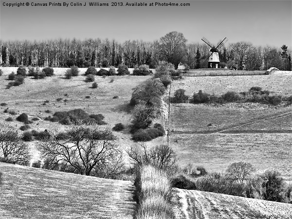 Cobstone Windmill - Turville -  BW Canvas print by Colin J Williams Photography