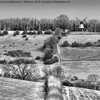 Buy canvas prints of Cobstone Windmill - Turville -  BW by Colin J Williams Photography