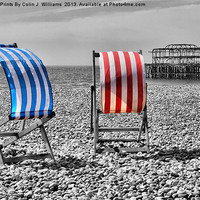 Buy canvas prints of Red White And Blue - Brighton Beach by Colin J Williams Photography