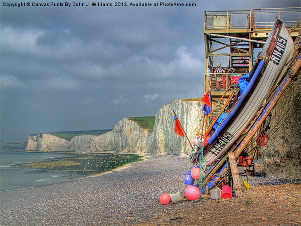 Seven Sisters And The Birling Gap Canvas Print by Colin J Williams Photography