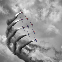 Buy canvas prints of The Red Arrows - Moody Sky by Colin J Williams Photography
