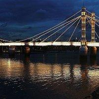 Buy canvas prints of Albert Bridge London at Twilight by Colin J Williams Photography