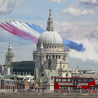 Buy canvas prints of  The Red Arrows And Saint Pauls Cathederal by Colin Williams Photography