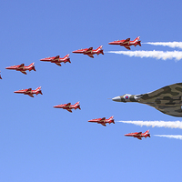 Buy canvas prints of  Final Vulcan flight with the red arrows 8 by Colin Williams Photography