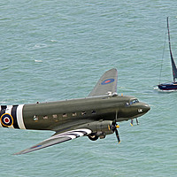 Buy canvas prints of The BBMF  Dakota DC3 At Beachy Head by Colin Williams Photography