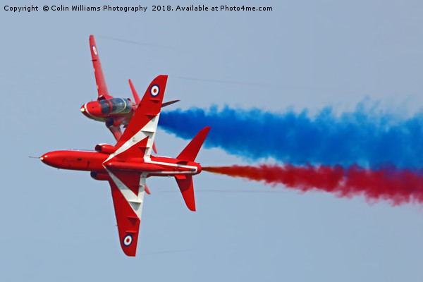 The Red Arrows Synchro Pair At Cosford 2018 Canvas print by Colin Williams Photography