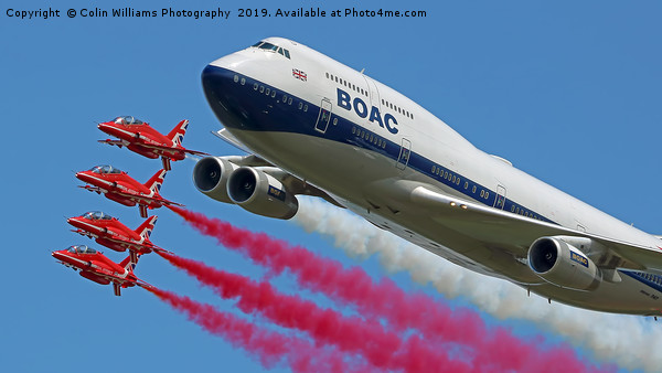 BOAC  747 with The Red Arrows Flypast - 4 Canvas print by Colin Williams Photography