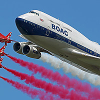 Buy canvas prints of BOAC  747 with The Red Arrows Flypast - 4 by Colin Williams Photography