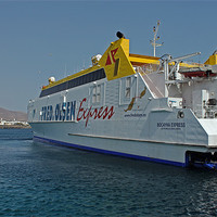 Buy canvas prints of Ferry in Corralejo Harbour by Tony Murtagh