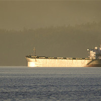 Buy canvas prints of TANKER SUNSET cargo ship waiting to dock vancouver by Andy Smy