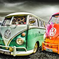Buy canvas prints of VW camper van trio by Ian Hufton