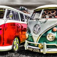 Buy canvas prints of VW camper van duo by Ian Hufton