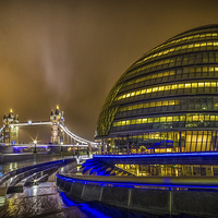 Buy canvas prints of Tower Bridge and the Armadillo by Ian Hufton