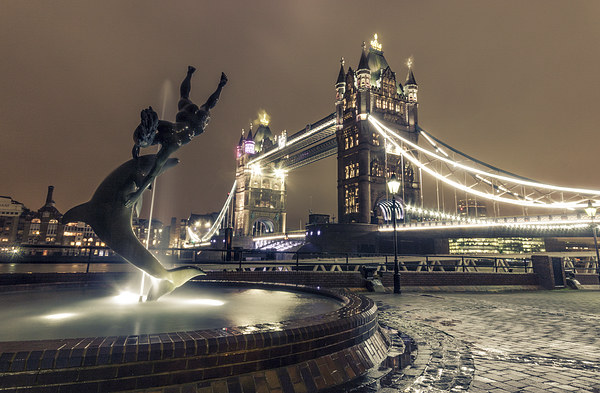 Tower Bridge and Dolphin Canvas print by Ian Hufton