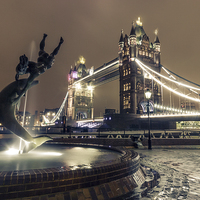 Buy canvas prints of Tower Bridge and Dolphin by Ian Hufton