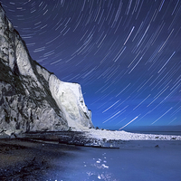 Buy canvas prints of White Cliffs of Dover on a Starry Night by Ian Hufton