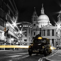 Buy canvas prints of St pauls with Black Cab by Ian Hufton