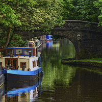 Buy canvas prints of  Rochdale Canal at Hebden Bridge by Fine art print Rina
