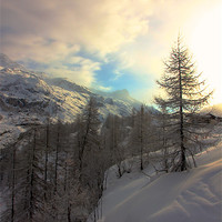 Buy canvas prints of Tignes Sunrise by Kevin Warner