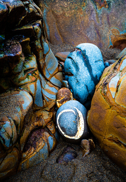 Abstract Rocks, Widemouth Bay, Cornwall 2 Print by Maggie Mccall