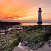 Buy canvas prints of Sunset at Perch Rock Lighthouse by raymond mcbride
