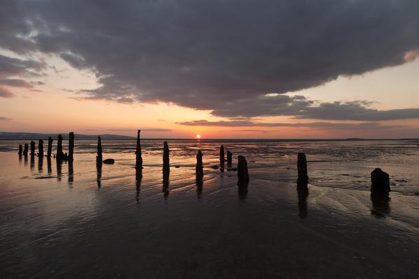 """""""Sunset"""" (Groynes on Caldy Beach) Canvas print by raymond mcbride"""