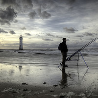 Buy canvas prints of Fisherman at Perch Rock Lighthouse by raymond mcbride
