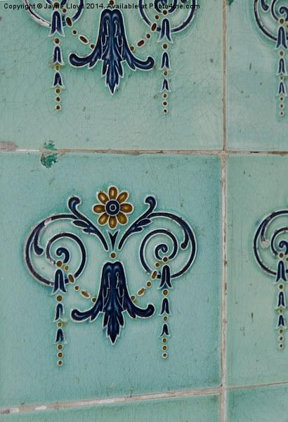 Ornate teal tiles, Singapore Canvas print by Jayne Lloyd