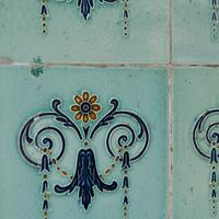 Buy canvas prints of Ornate teal tiles, Singapore by Jayne Lloyd