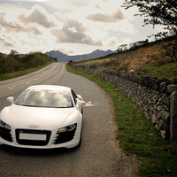 Buy canvas prints of Audi R8 Snowdonia Colour by Roger Cruickshank