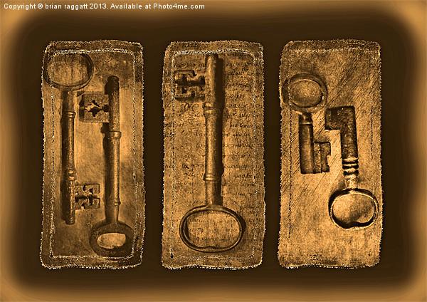 Antique Triptych keys Print by Brian  Raggatt