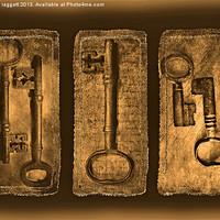 Buy canvas prints of Antique Triptych keys by Brian  Raggatt