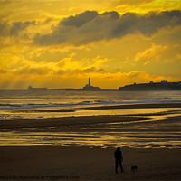 Buy canvas prints of Early morning dog walker by Jim Jones