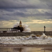 Buy canvas prints of Storm at the harbour mouth by Jim Jones
