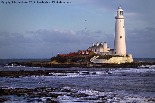 St Marys Island and Lighthouse Canvas print by Jim Jones