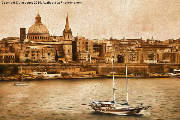 Valletta Malta in the style of Georgia O'Keefe Canvas print by Jim Jones