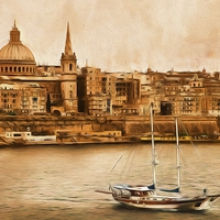 Buy canvas prints of  Valletta Malta in the style of Georgia O'Keefe by Jim Jones
