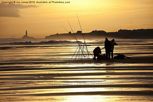 Fishermen at sunrise Canvas print by Jim Jones