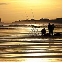 Buy canvas prints of  Fishermen at sunrise by Jim Jones