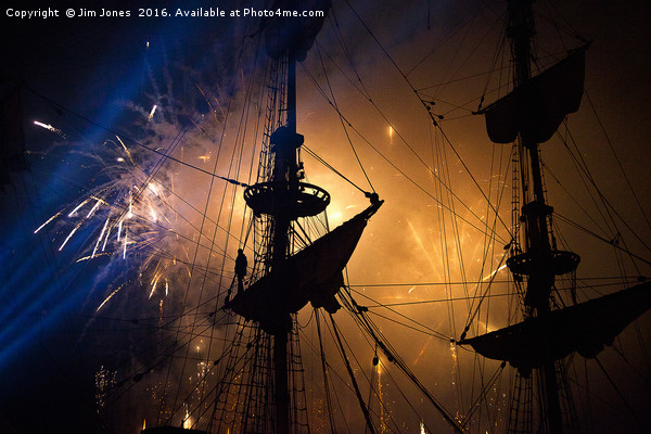 Fireworks and Tall Ships Canvas print by Jim Jones