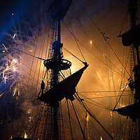 Buy canvas prints of Fireworks and Tall Ships by Jim Jones